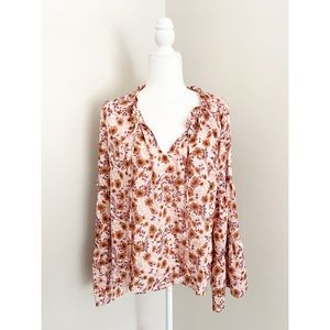 Love Stitch Floral Bell Sleeve Blouse